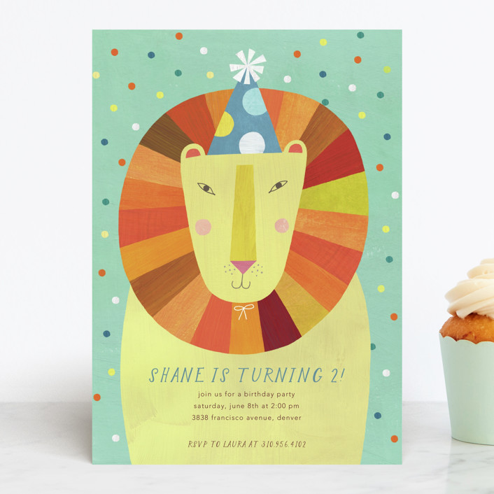 """Party Lion"" - Children's Birthday Party Invitations in Mint by melanie mikecz."