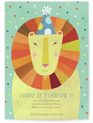 Party Lion Children's Birthday Party Invitations