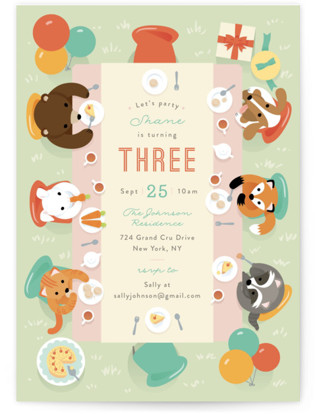 Party Table Children's Birthday Party Invitations