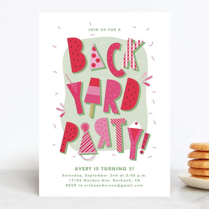 """""""Backyard Party"""" - Children's Birthday Party Invitations in Watermelon by Tatiana Nogueiras."""