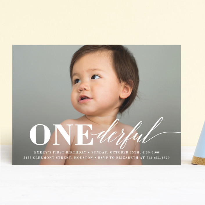 """""""Onederful"""" - Children's Birthday Party Invitations in Cloud by Susan Asbill."""