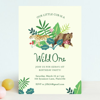 Our Cub Is One Children's Birthday Party Invitations