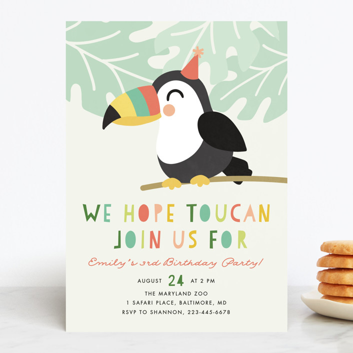 """Toucan"" - Children's Birthday Party Invitations in Sorbet by Ink and Letter."