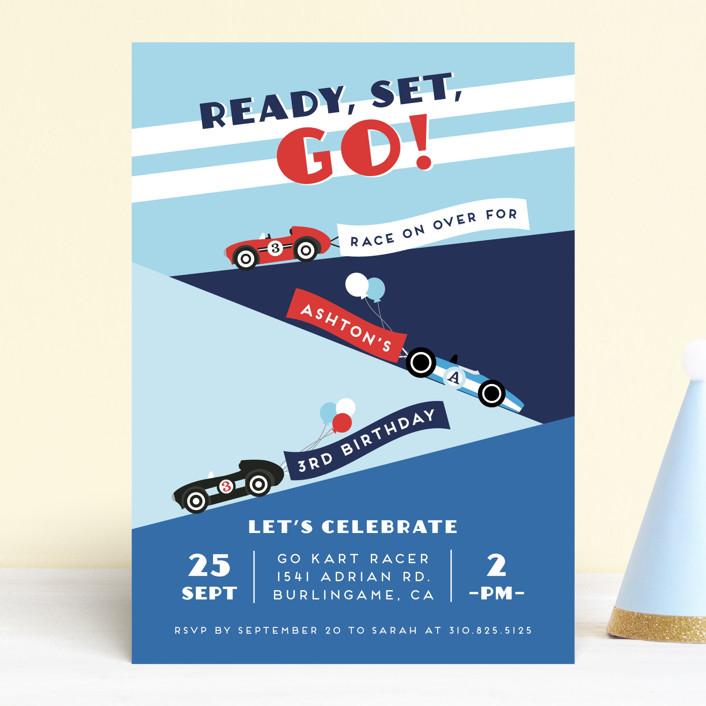 """Monaco"" - Children's Birthday Party Invitations in Sky by Shirley Lin Schneider."