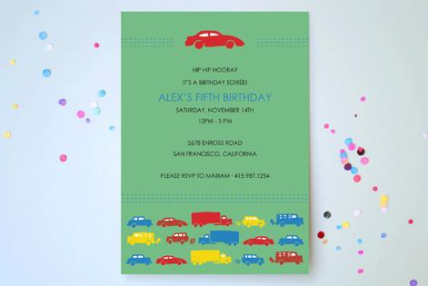Modern Transportation Children's Birthday Party Invitations