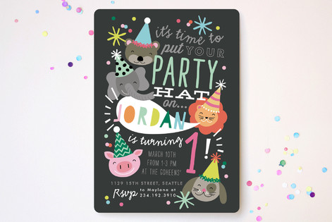 Party Hat Animals Children's Birthday Party Invitations