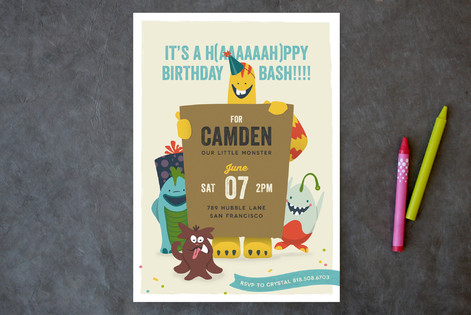 Lil Booger Monsters Children's Birthday Party Invitations