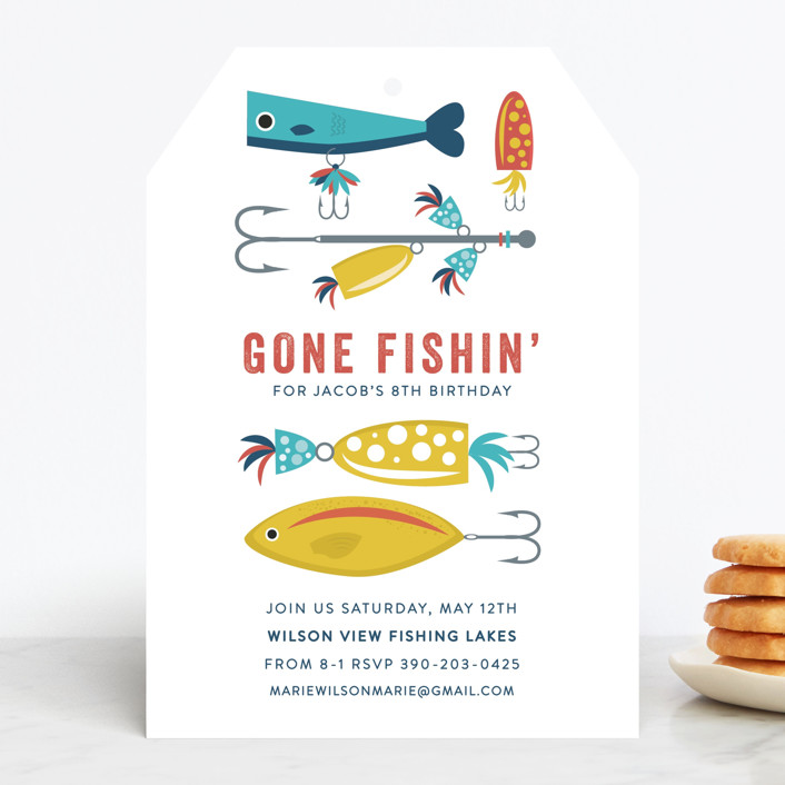 """Gone Fishin'"" - Children's Birthday Party Invitations in Ocean by Bethany Anderson."