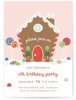 This is a colorful kids birthday invitation by Annie Holmquist called Gingerbread House with standard printing on signature in standard.