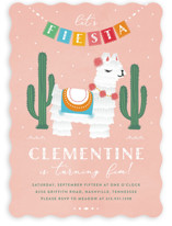 This is a pink kids birthday invitation by Jennifer Lew called Llama Piñata with standard printing on signature in standard.