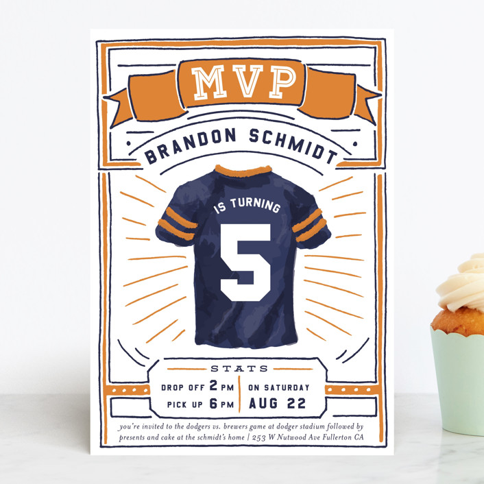 """""""MVP Collectors Card"""" - Children's Birthday Party Invitations in School Bus by Shiny Penny Studio."""