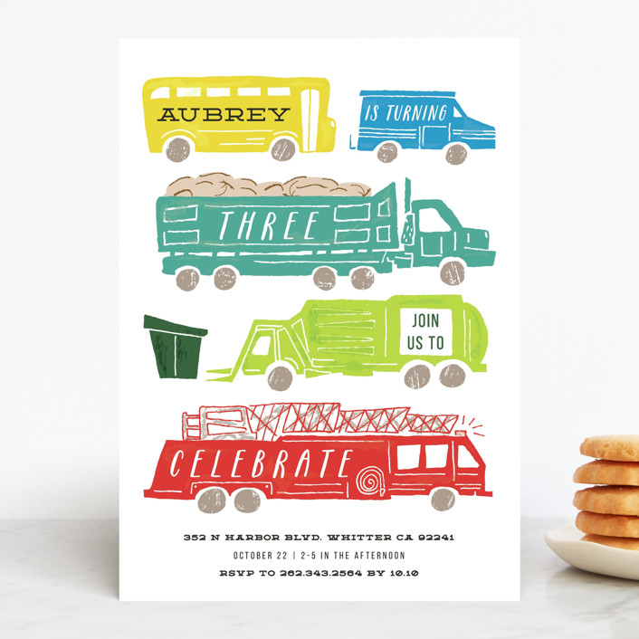 Cars & Trucks Kids' Birthday Party Invitation