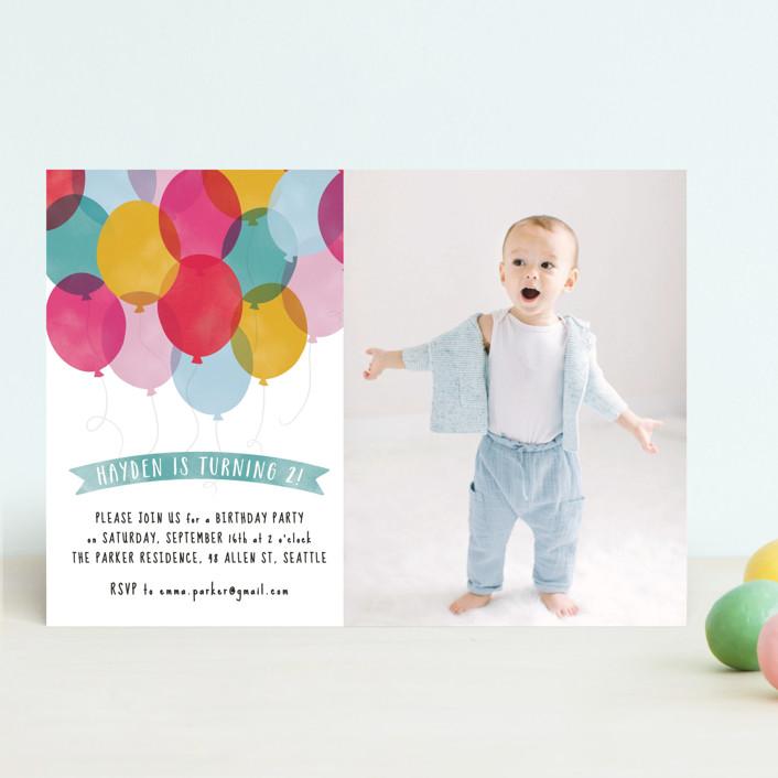 Birthday Balloons Kids' Birthday Invitations