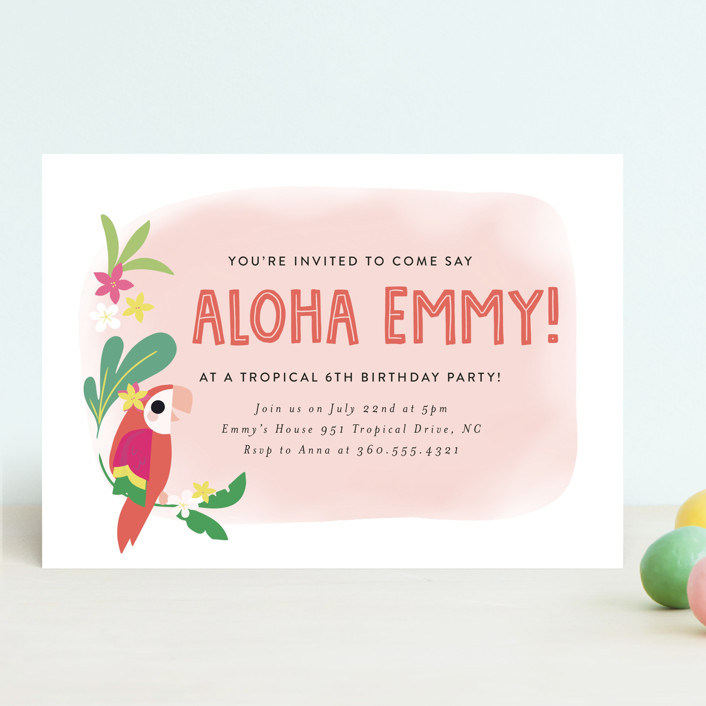 """""""Luau"""" - Children's Birthday Party Invitations in Petal by Itsy Belle Studio."""