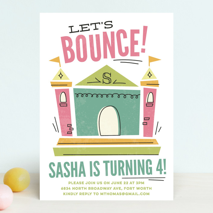 """Let's Bounce"" - Children's Birthday Party Invitations in Fairy by Jessie Steury."