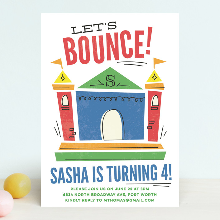 """""""Let's Bounce"""" - Children's Birthday Party Invitations in Fairy by Jessie Steury."""