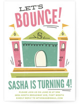 This is a pink kids birthday invitation by Jessie Steury called Let's Bounce with standard printing on signature in standard.