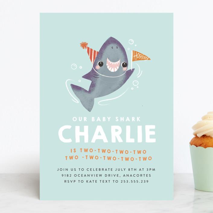 """Snappy Birthday"" - Children's Birthday Party Invitations in Ocean by Itsy Belle Studio."