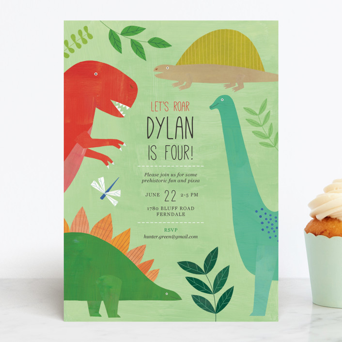"""Let's Roar DInosaur"" - Children's Birthday Party Invitations in Forest by melanie mikecz."