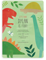 This is a green kids birthday invitation by melanie mikecz called Let's Roar DInosaur with standard printing on signature in standard.