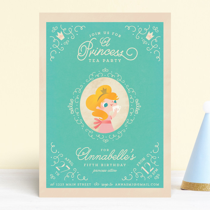 """""""Princess Tea"""" - Children's Birthday Party Invitations in Turquoise by Lori Wemple."""