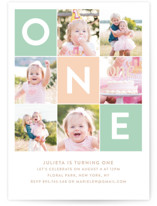 This is a green kids birthday invitation by Joanne James called Simply One with standard printing on smooth signature in standard.