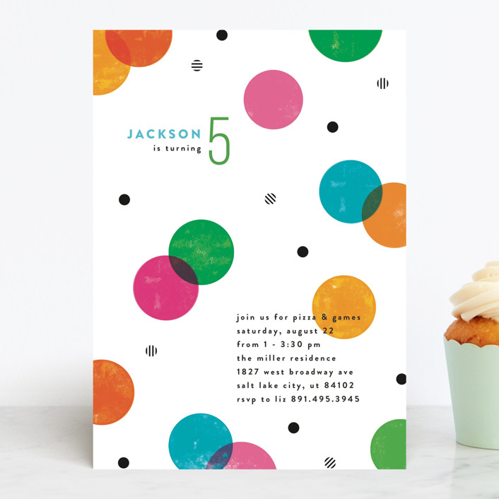 """""""Colorful Confetti"""" - Children's Birthday Party Invitations in Funfetti by Robert and Stella."""
