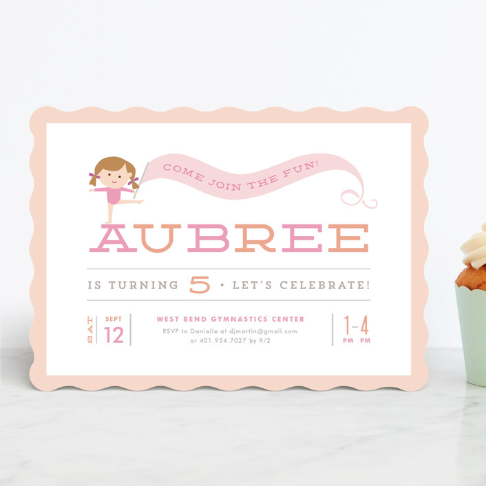 """""""Perfect Balance"""" - Children's Birthday Party Invitations in Peach by Jennifer Wick."""