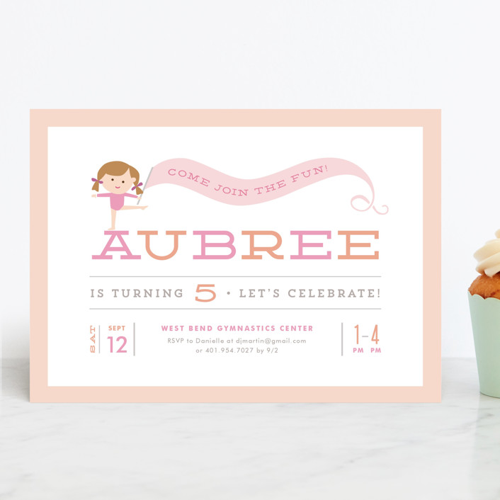 """Perfect Balance"" - Children's Birthday Party Invitations in Peach by Jennifer Wick."