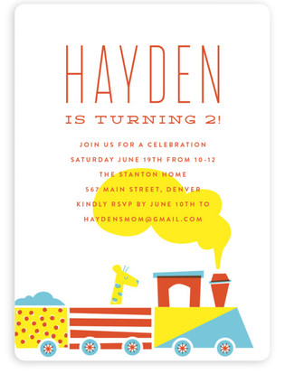 train birthday party invitations  minted, Party invitations