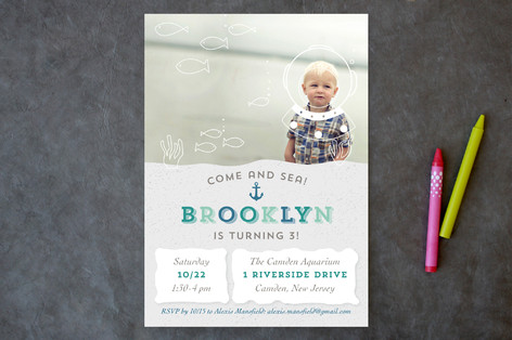 Deep Sea Diver Children's Birthday Party Invitations
