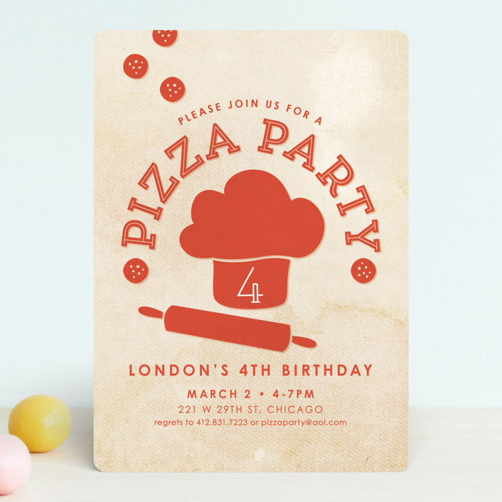 """Let's Make Pizza"" - Children's Birthday Party Invitations in Dough by Loree Mayer."