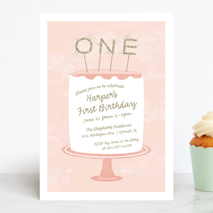 """Frosting"" - Children's Birthday Party Invitations in Cotton Candy by Sarah Brown."