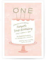 This is a pink kids birthday invitation by Sarah Brown called Frosting with standard printing on signature in standard.