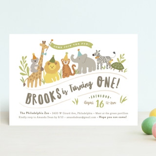 Animals on parade Children's Birthday Party Invitations