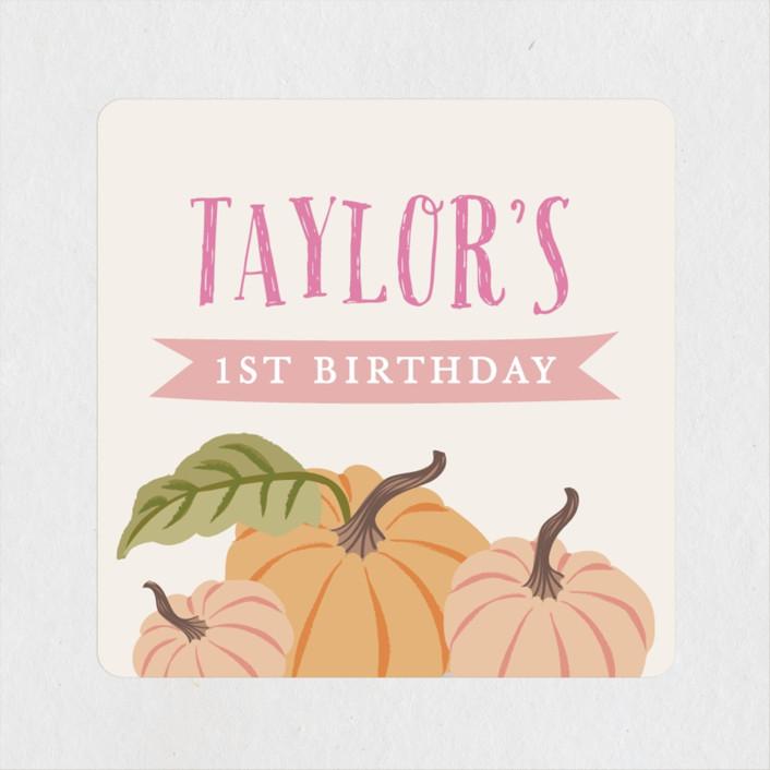 """""""Autumn Pumpkin"""" - Children's Birthday Party Stickers in Peach by Karidy Walker."""