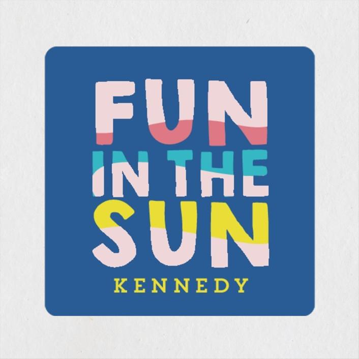 """Fun Sun"" - Children's Birthday Party Stickers in Carribean by Baumbirdy."