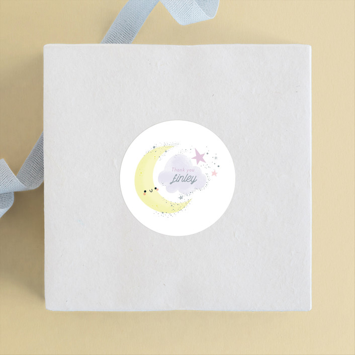 """""""Over the Moon"""" - Children's Birthday Party Stickers in Lavender by Itsy Belle Studio."""