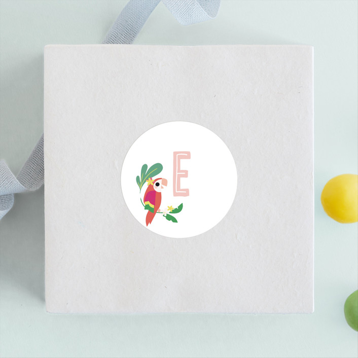 """""""Luau"""" - Children's Birthday Party Stickers in Petal by Itsy Belle Studio."""