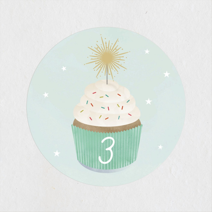 """""""Sparkler"""" - Children's Birthday Party Stickers in Spearmint by Lorent and Leif."""
