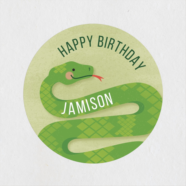 """Slithering Snake"" - Children's Birthday Party Stickers in Grass by Jessica Ogden."