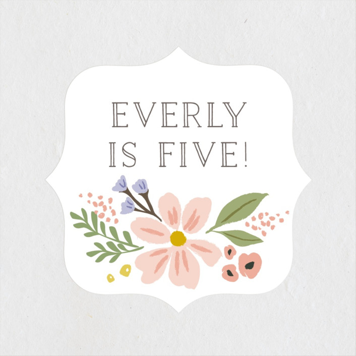 """""""Floral Crown"""" - Children's Birthday Party Stickers in Rose by Karidy Walker."""