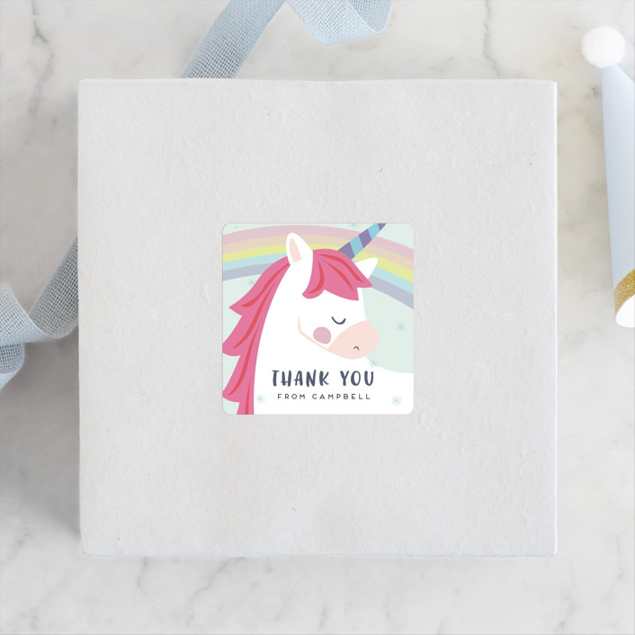 """unicorno"" - Children's Birthday Party Stickers in Bubblegum by peetie design."