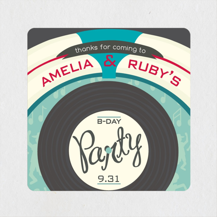 """jukebox birthday"" - Children's Birthday Party Stickers in Arbor by Shannon."