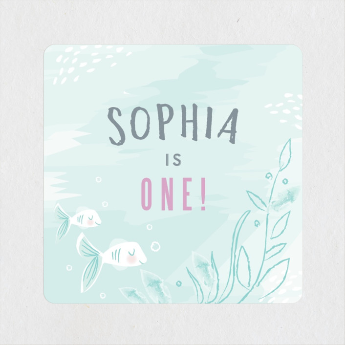 """""""Under the Sea"""" - Children's Birthday Party Stickers in Pond by Karidy Walker."""