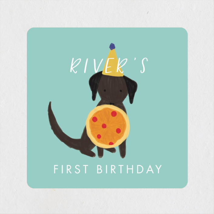"""""""Puppy Pizza Party"""" - Children's Birthday Party Stickers in Cobblestone by Stephanie Given."""