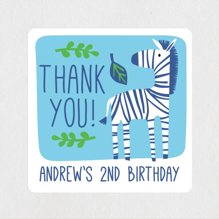 """Bright Jungle"" - Children's Birthday Party Stickers in Navy by Kristen Cavallo."