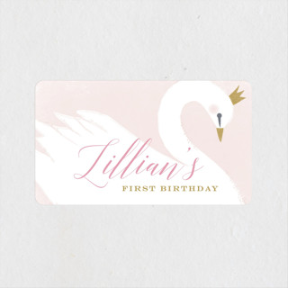 sweet swan princess Children's Birthday Party Stickers