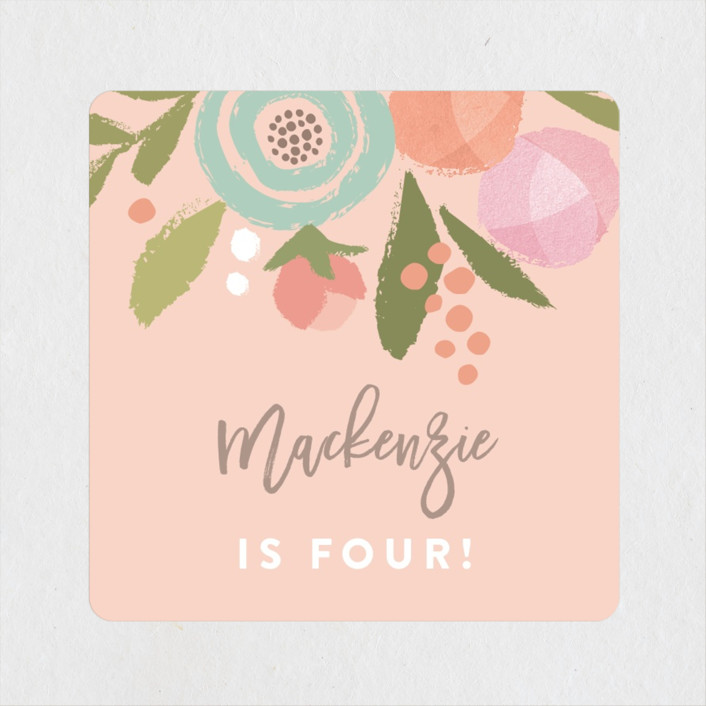 """""""Blooming Peonies"""" - Children's Birthday Party Stickers in Peach by Jennifer Wick."""