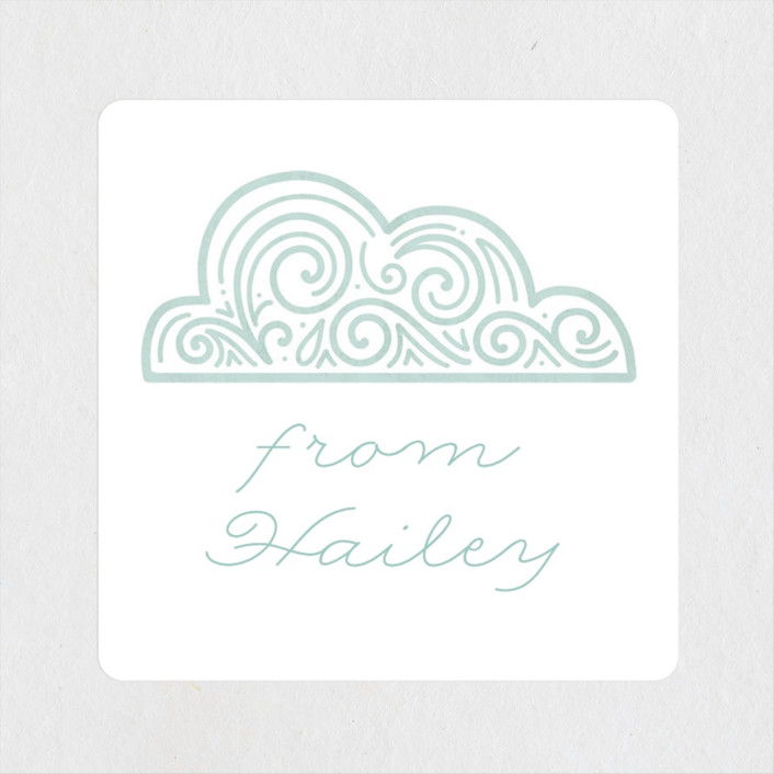 """Hot Air Balloon Birthday"" - Children's Birthday Party Stickers in Teal by Noonday Design."